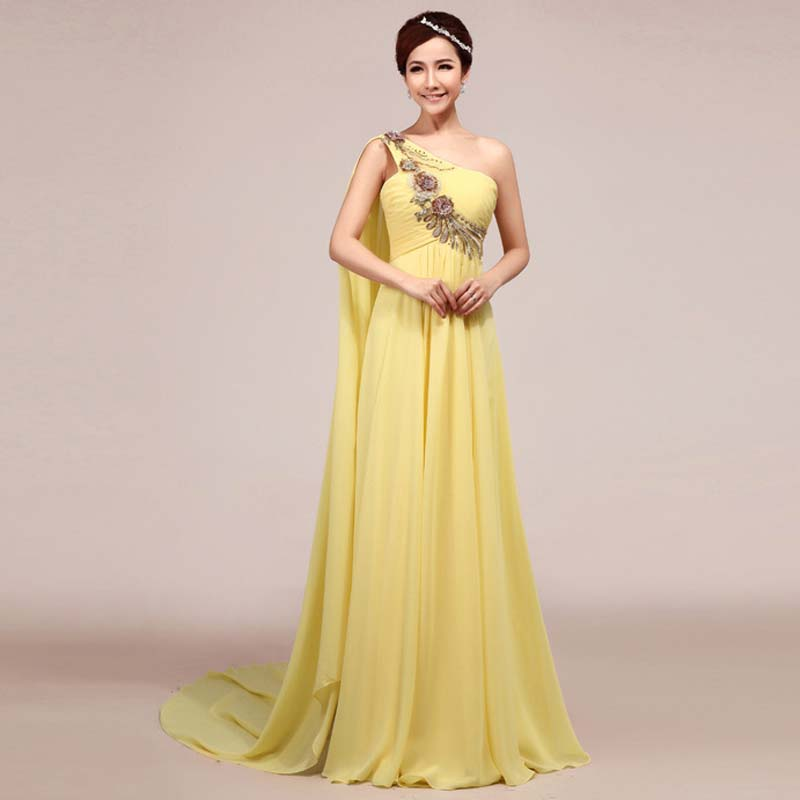 Customized 3D Embroidery Yellow Toga Evening Dress